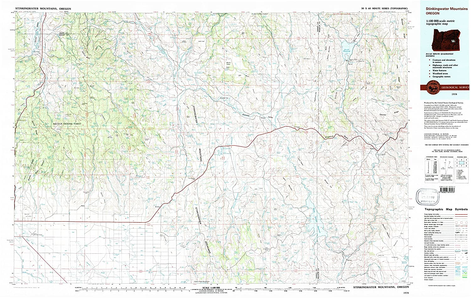 1:100000 Scale Updated 1997 YellowMaps Stinkingwater Mountains OR topo map 1978 Historical 30 X 60 Minute 24.1 x 38 in