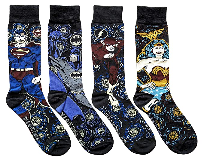 b6648945b73e Image Unavailable. Image not available for. Color: Hyp DC Comics Starry  Night Themed Men's Crew Socks 4 Pair Pack Shoe Size ...