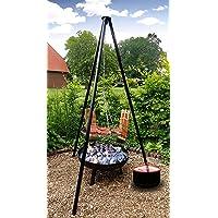 Grill-Set Schwarz groß Stahl Grill Zusammenstellung Garten Grill-Set ✔ rund ✔ schwenkbar ✔ Stand ✔ Grillen mit Holzkohle
