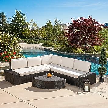 Reddington Outdoor Wicker Patio Furniture Sectional Sofa Set (6 Piece,  Brown Sunbrella)