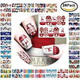 Christmas subject nail stickers,Nail Art Travel sticker Beauty Nail Decorations Toolnail paster, Easy Nail wrap Set for Finger or Toe,24 Sheets