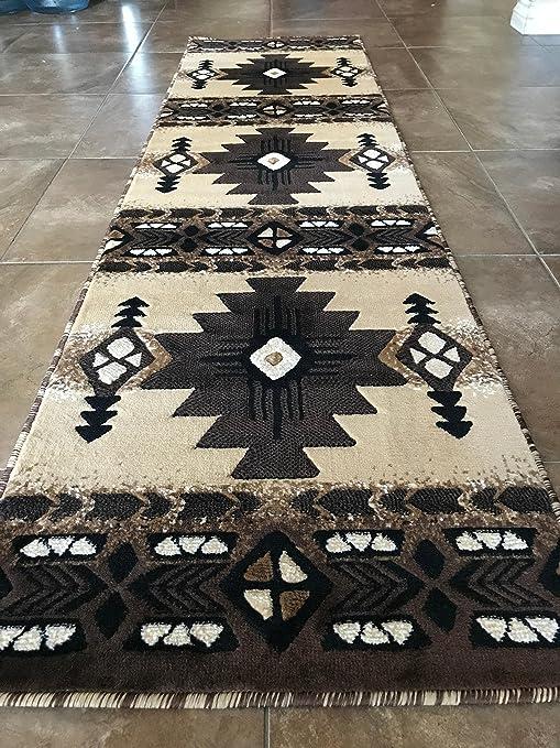 Southwest Native American Runner Area Rug Berber Beige Concord Design C318  (2 Feet X 7