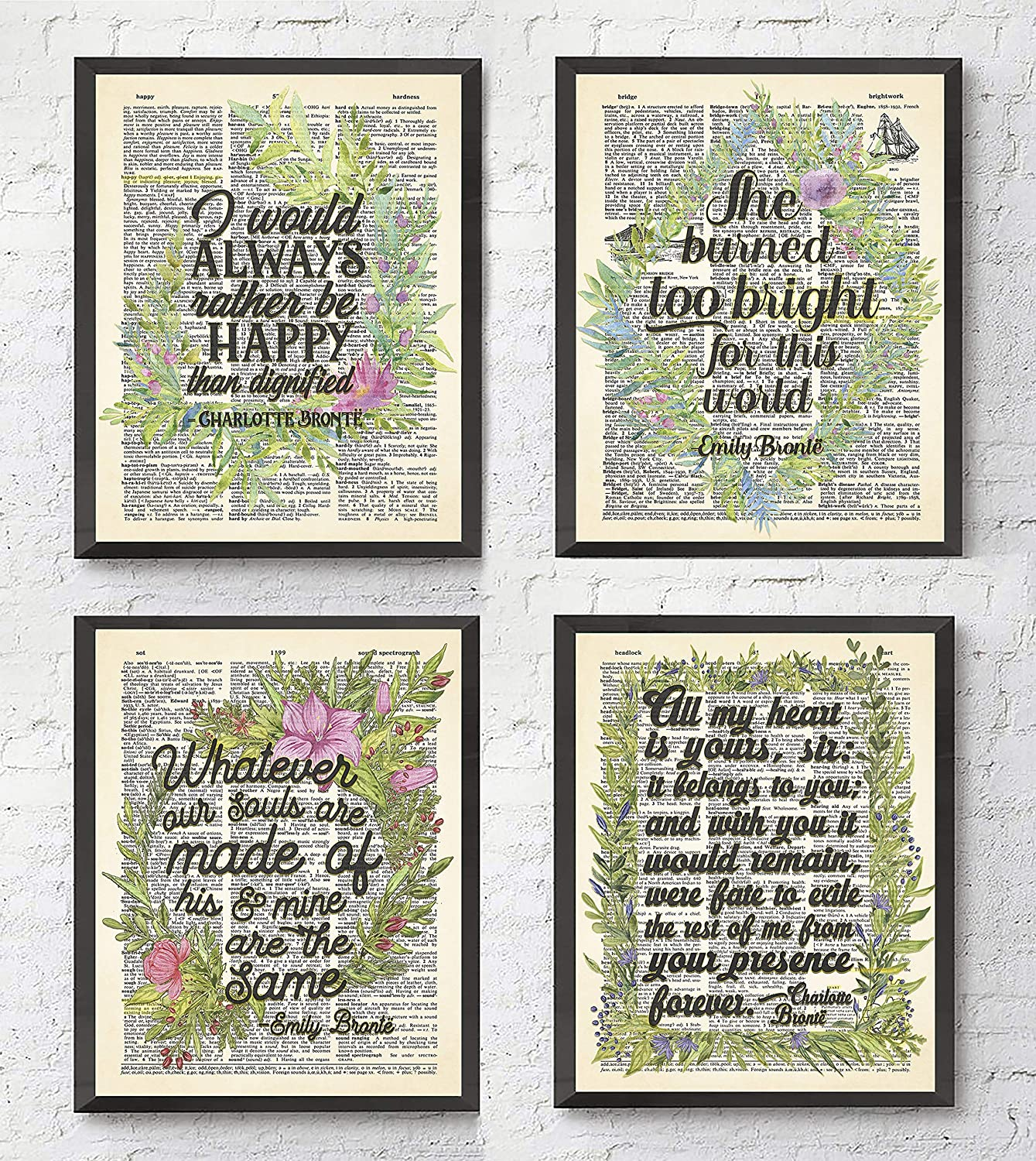 TimPrint The Bronte Sisters quote ART PRINTS Set of 4 FRAMED Literary quote Literature gift Vintage Highlighted Dictionary Page All Sizes Framed print