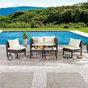 LOKATSE HOME 6 Pieces Patio Furniture Outdoor All Weather Wicker Conversation Sets with Brown Rattan Sofa Chair, Cushions and Coffee Glass Table, Beige