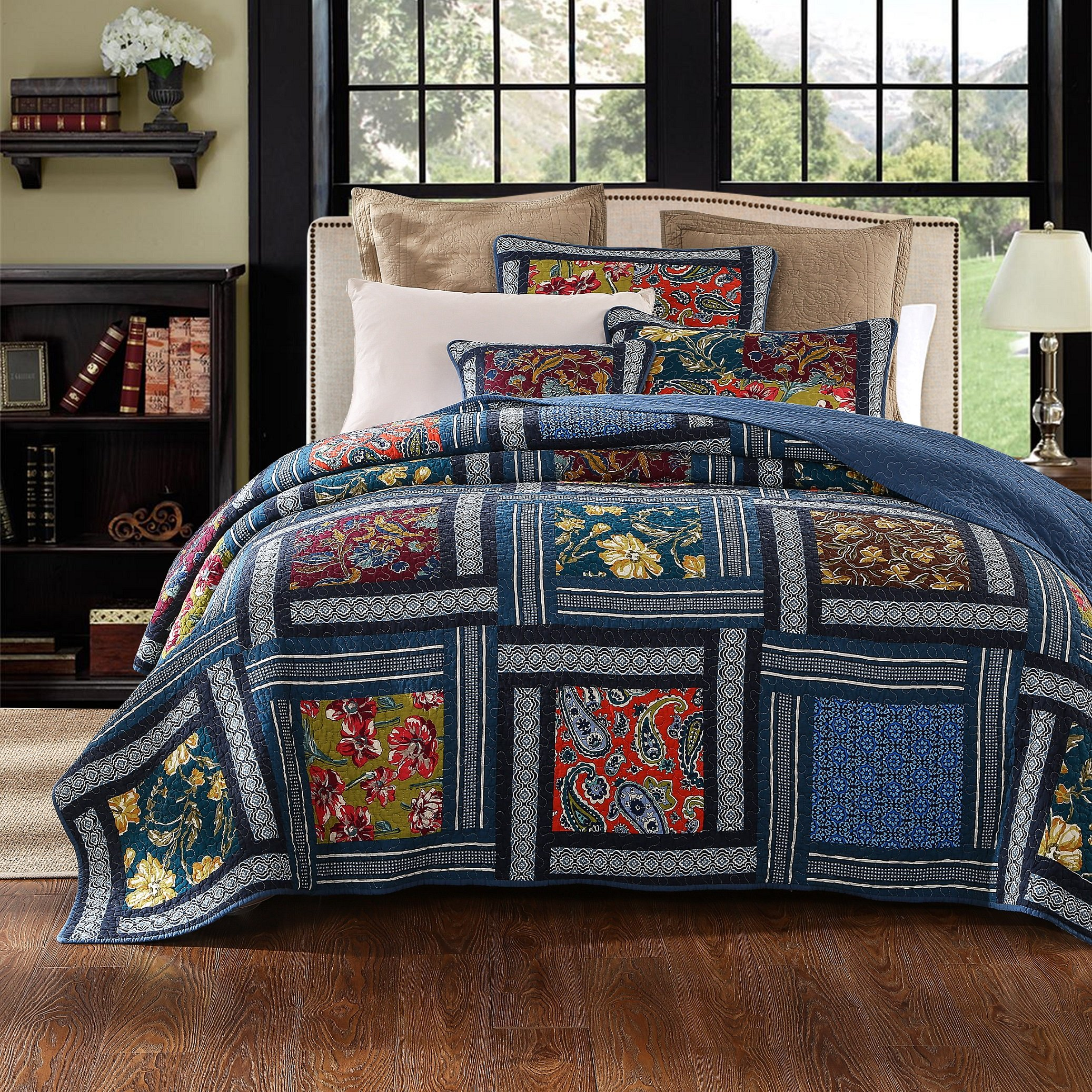 DaDa Bedding Bohemian Midnight Ocean Blue Sea Reversible Real Patchwork Quilted Bedspread Set - Dark Navy Floral Multi-Color Print - Cal King - 3-Pieces by DaDa Bedding Collection