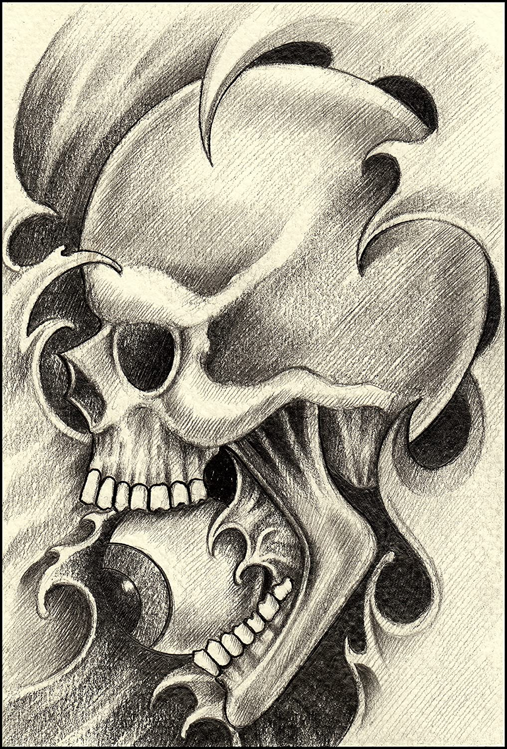 Amazon com pencil sketch skull in waves with eyeball in mouth vinyl decal sticker 4 tall automotive