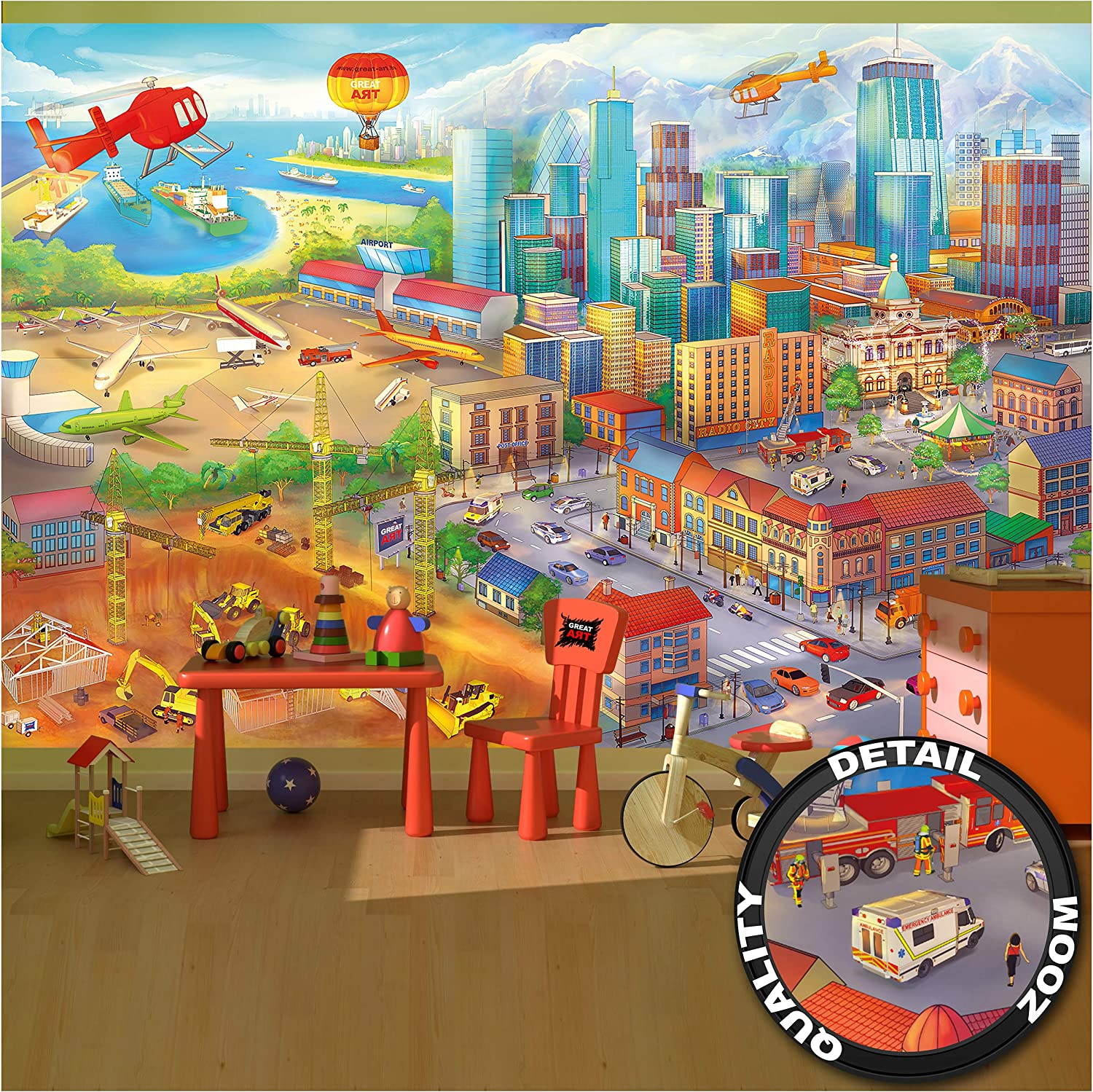 Large Photo Wallpaper – Comic Style – Wall Picture Decoration Hidden Objects City Building-Site Helicopter Airplane Digger Airport Image Decor Wall Mural (132.3x93.7in - 336x238cm)