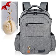 Baby Diaper Bag Backpack – Large Multi-Function Diaper Back Pack with Changing Pad – Waterproof Nappy Changing Bag with Insulated Pockets – Durable Stylish Unisex Travel Organizer by AnyHug, Gray