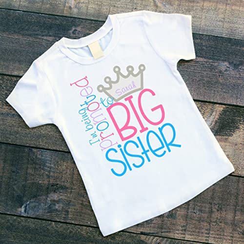 79a7bcda2 Image Unavailable. Image not available for. Color: Personalized I'm Being  Promoted to BIG SISTER Pregnancy Announcement Shirt ...