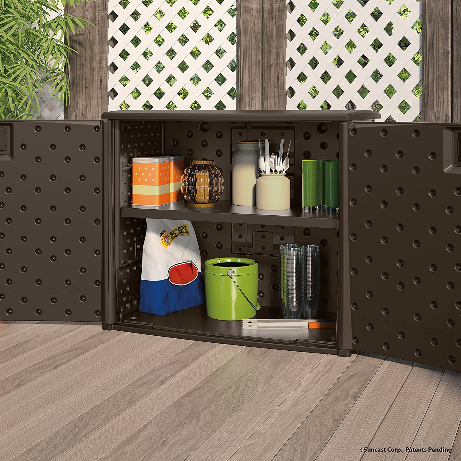 Outdoor Cabinets: Suncast Elements Outdoor 40-Inch Wide Cabinet