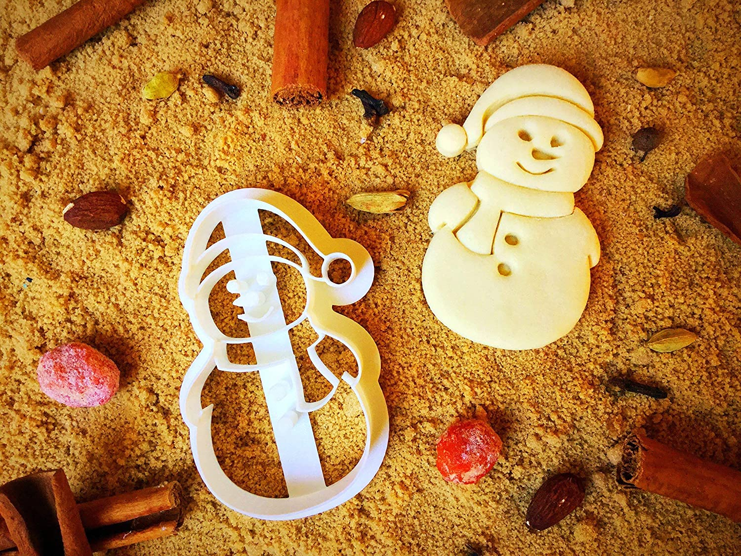 Snowman Cookie Cutter - Winter Presents for Kids - Christmas Cutters for Cookies Jar - Small Unique Xmas Present Shapes - Biscuit Baking Mold - 3.5inch - Eco Friendly by Sugary Charm