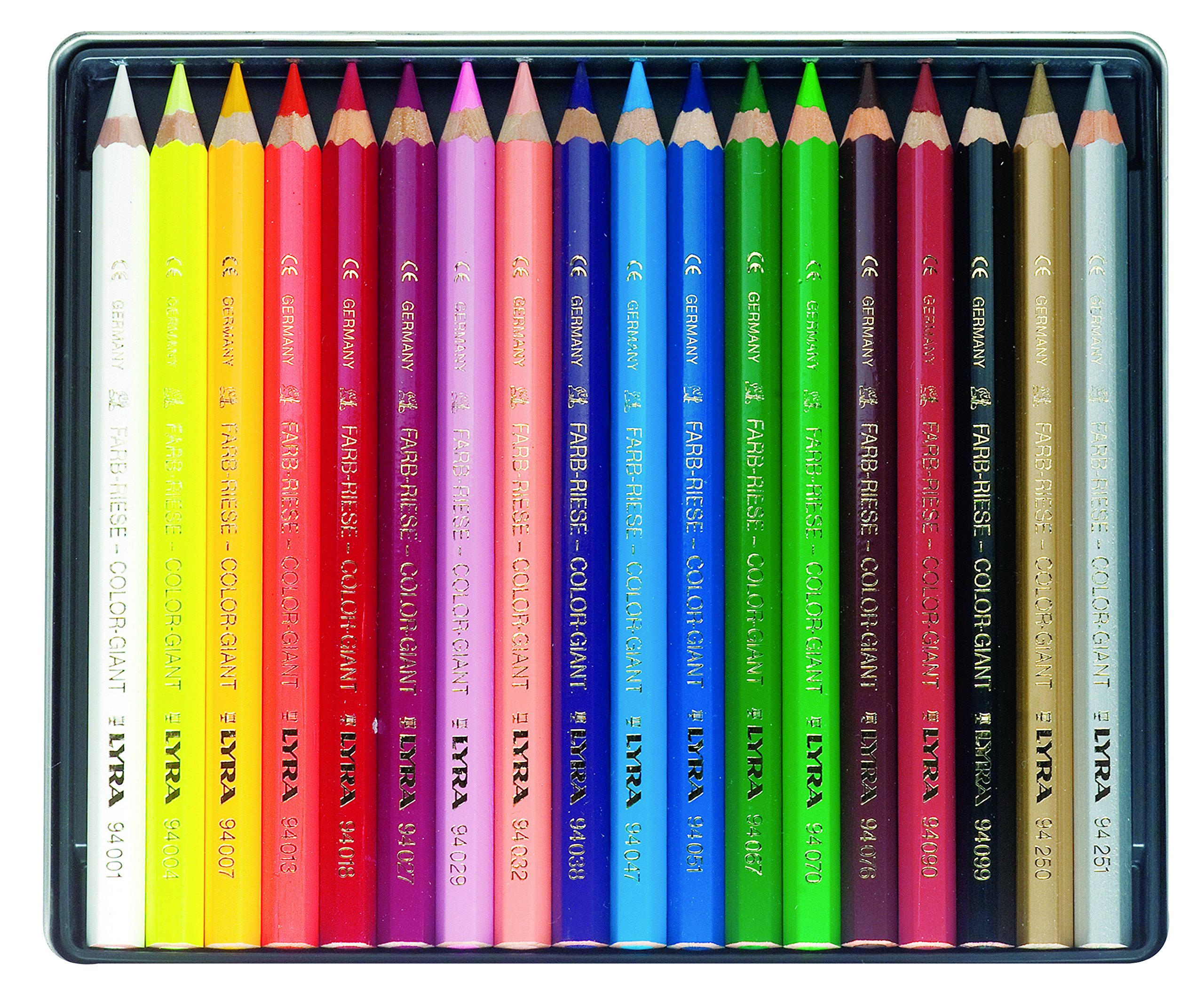 LYRA Color-Giants Colored Pencils, Lacquered, 6.25 Millimeter Cores, Set of 18 Pencils, Assorted Colors (3941181) by Lyra (Image #2)