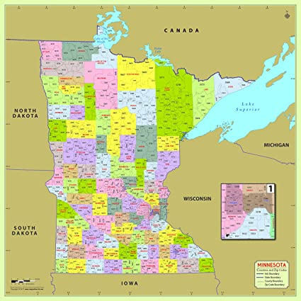 Amazon.com : Minnesota County with Zip Code Map (48