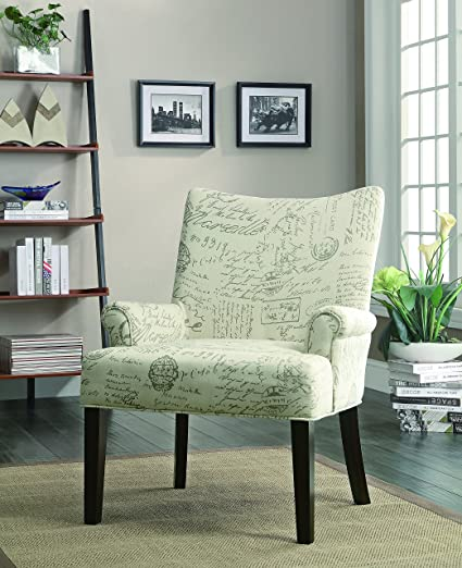 Superieur Coaster Casual Off White French Script Pattern Accent Chair