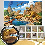 Wallpaper Childrens Room adventure Dinosaur – wall picture decoration Dino World Comic style jungle adventure Dinosaur Waterfall I paperhanging Wallpaper poster wall decor by GREAT ART (82.7x55 Inch)