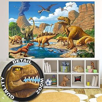Fototapete kinderzimmer tiere  Fototapete Kinderzimmer Abenteuer Dinosaurier - Wandbild ...