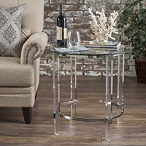 Christopher Knight Home 302235 Orson Acrylic and Tempered Glass Square Circular Table, Clear