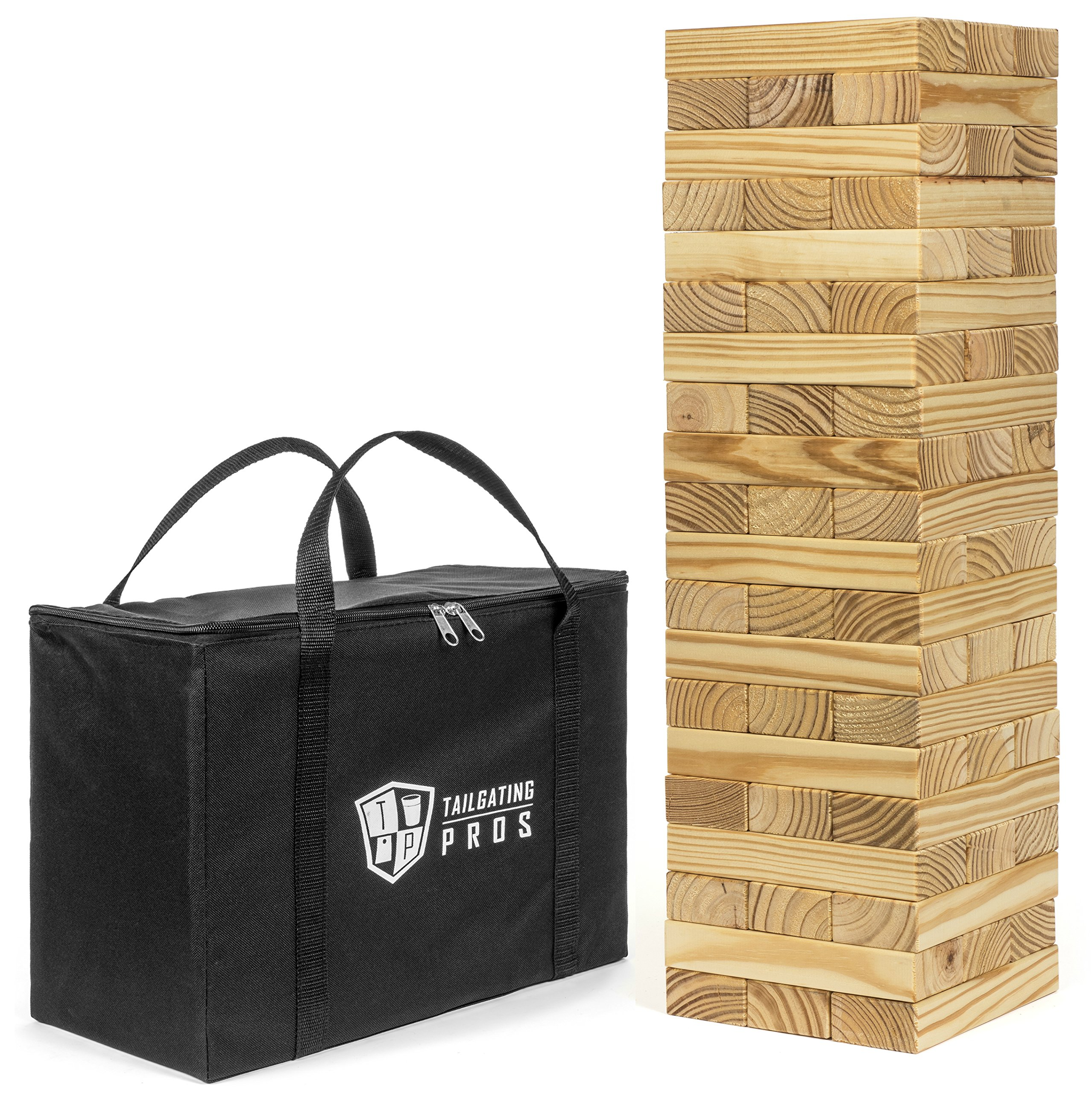 Tailgating Pros Giant Wooden Tumbling Timbers - 60 Blocks - Stacking Game - W/ Carrying Case by Tailgating Pros