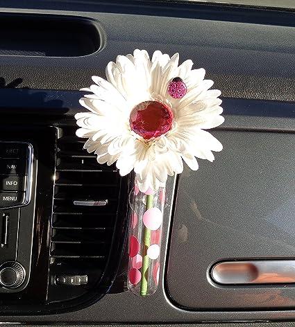 Vase de voiture Blanc et Diamant Bling Daisy avec vase universel
