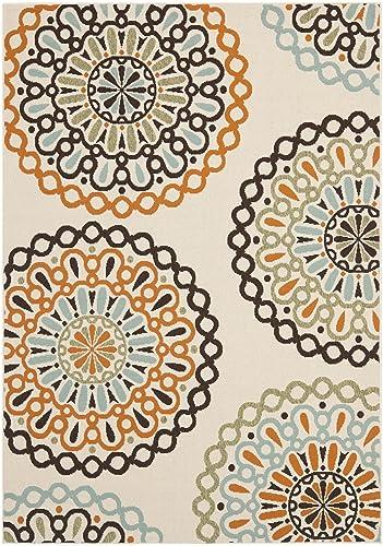 Safavieh Veranda Collection VER092-0715 Indoor Outdoor Cream and Terracotta Contemporary Area Rug 6 7 x 9 6