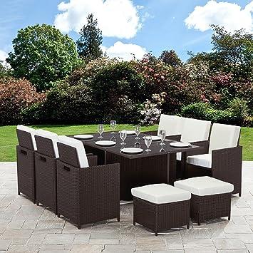 Uk Garden Furniture Rattan cube garden furniture set 10 seater brown amazon rattan cube garden furniture set 10 seater brown workwithnaturefo