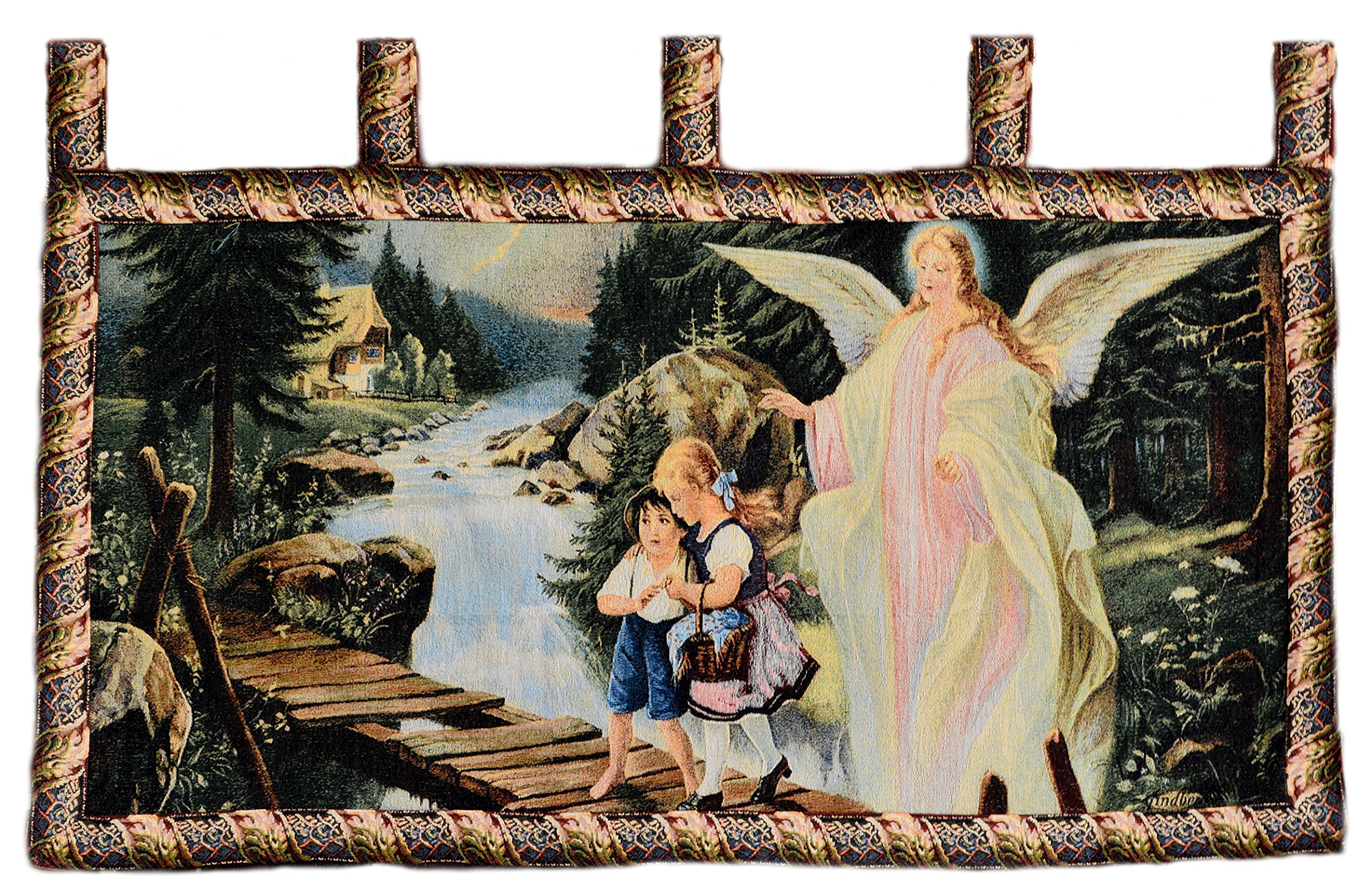 Tache 43 x 23 Guardian Angel With Children On Bridge Tapestry Wall Hanging