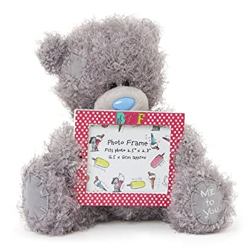 Me To You 6 Inch Tatty Teddy Bear Holding A Bff Photo Frame Grey