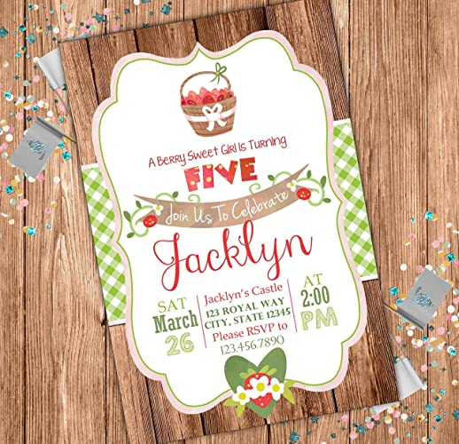Amazon Strawberry Patch Custom Birthday Invitation