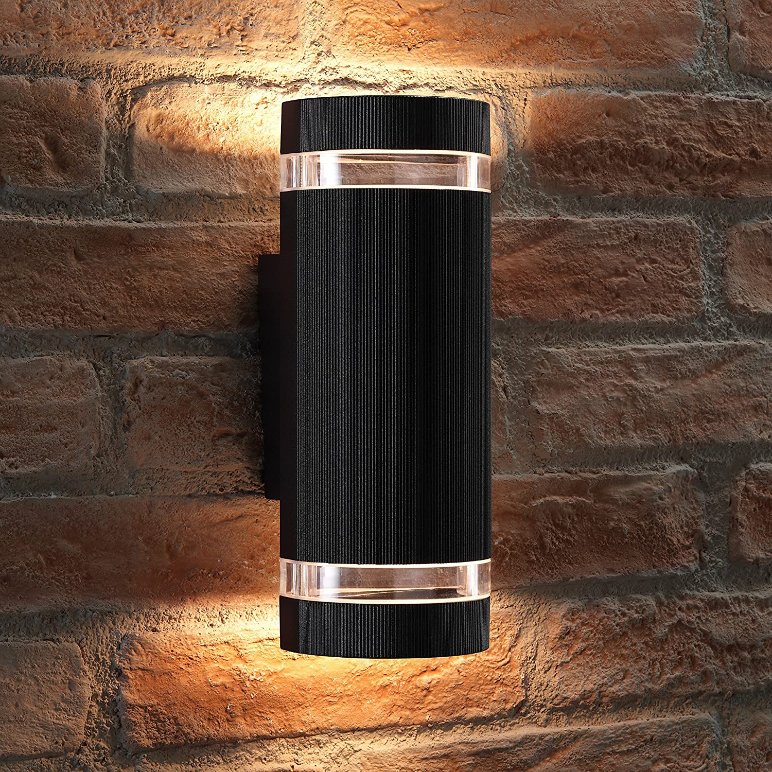 Auraglow Indoor/Outdoor Double up & Down Wall Light - Black - Cool White LED Bulbs Included [Energy Class A+]