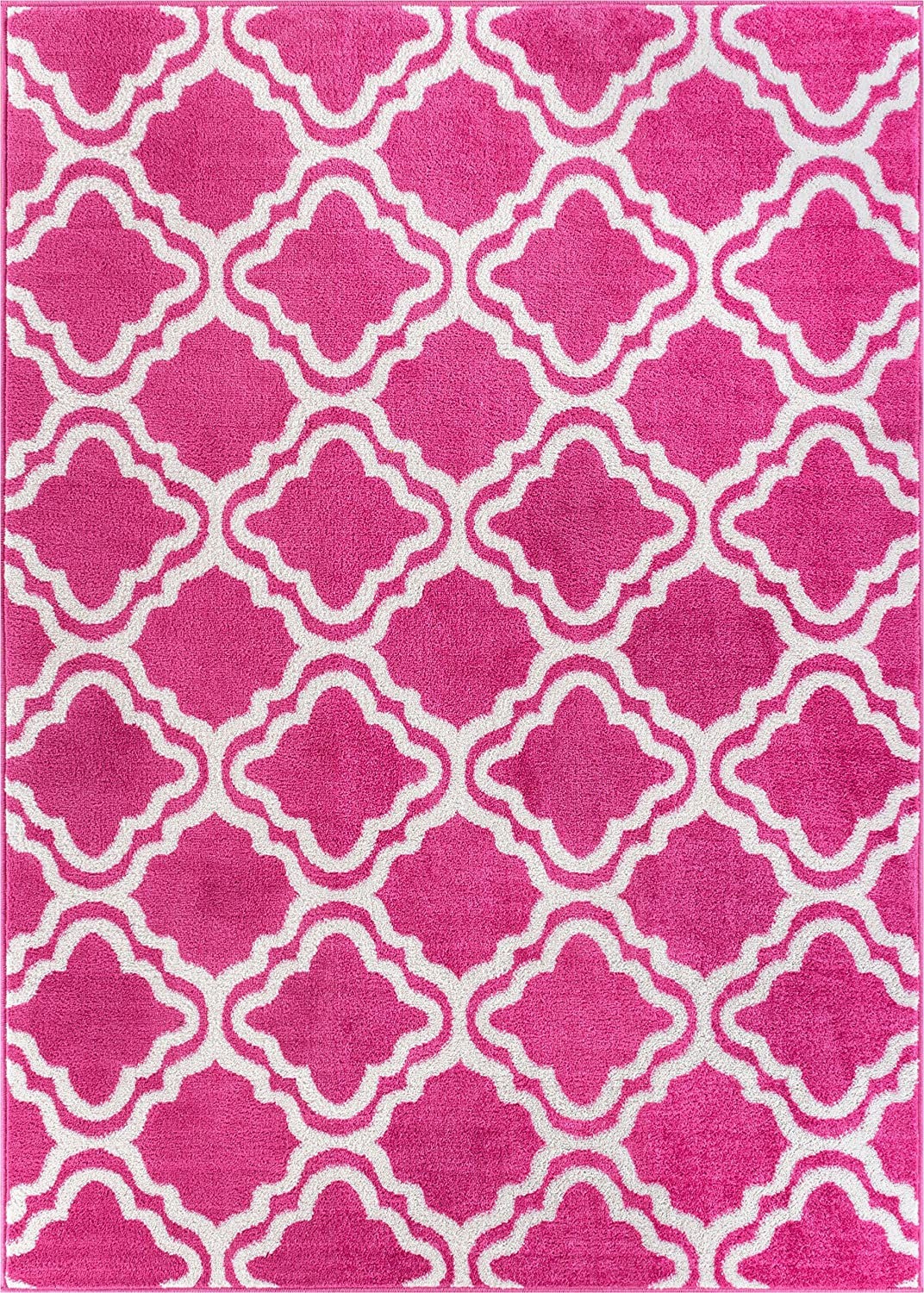 "Well Woven StarBright Calipso Modern Geometric Trellis Pink 3'3"" x 5' Kids Area Rug"