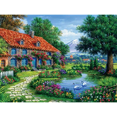 Ceaco Arturo Zarraga Cottage with Swans Jigsaw Puzzle (550 Piece): Toys & Games