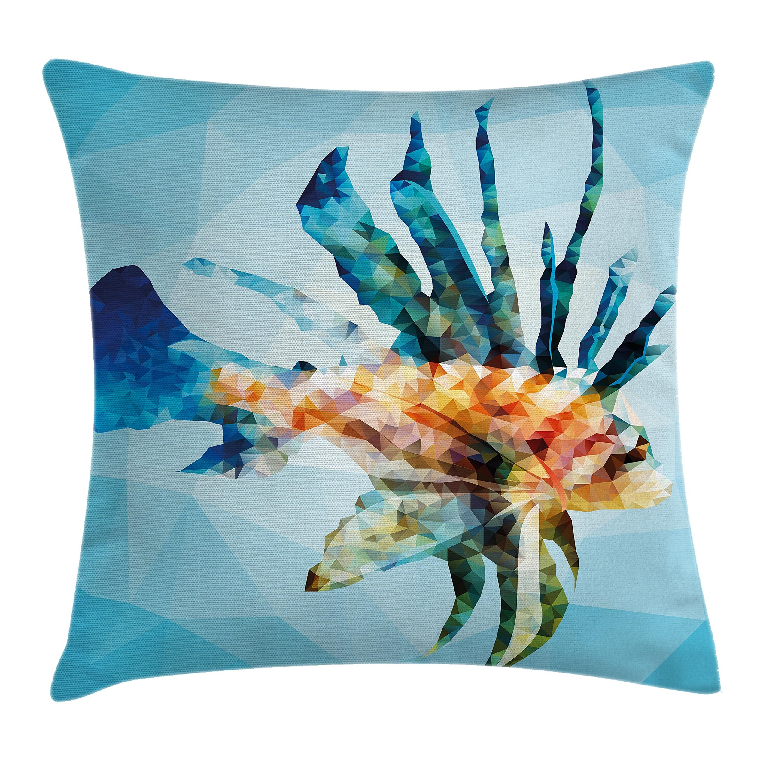 Ambesonne Fish Decor Throw Pillow Cushion Cover, Underwater Theme Ornamental Fish in The Style of Polygon Graphics Pattern, Decorative Square Accent Pillow Case, 16 X 16 inches, Blue and Sky Blue