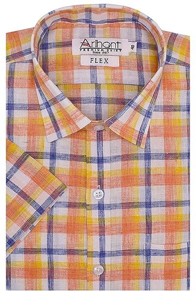 Arihant Men's Checkered Half Sleeves Reguler Fit Cotton Linen Formal Shirts Formal Shirts at amazon