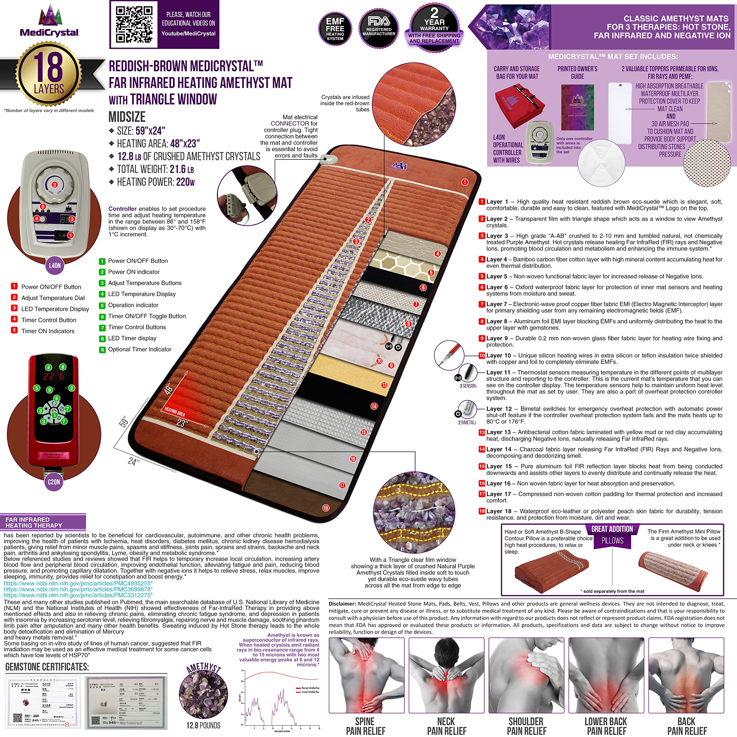 Far Infrared Amethyst Mat Midsize (59''L x 24''W) - Negative Ion - FIR Therapy - Natural Amethyst - FDA Registered Manufacturer - Adjustable Temperature Setting - Hot Crystal Heating Pad - Reddish Brown by MediCrystal (Image #3)