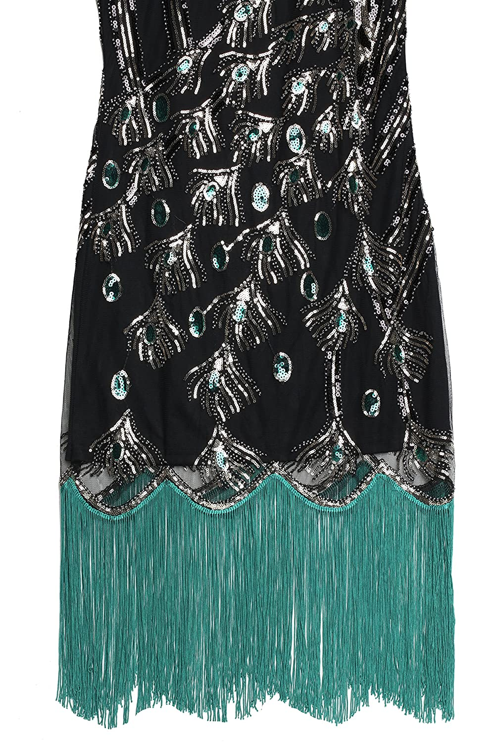 BABEYOND 1920 Vintage Peacock Sequin Fringed Party Flapper Dress ...