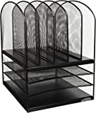 Safco Products 3266BL Onyx Mesh Desktop Organizer with 5 Vertical/3 Horizontal Sections, Black