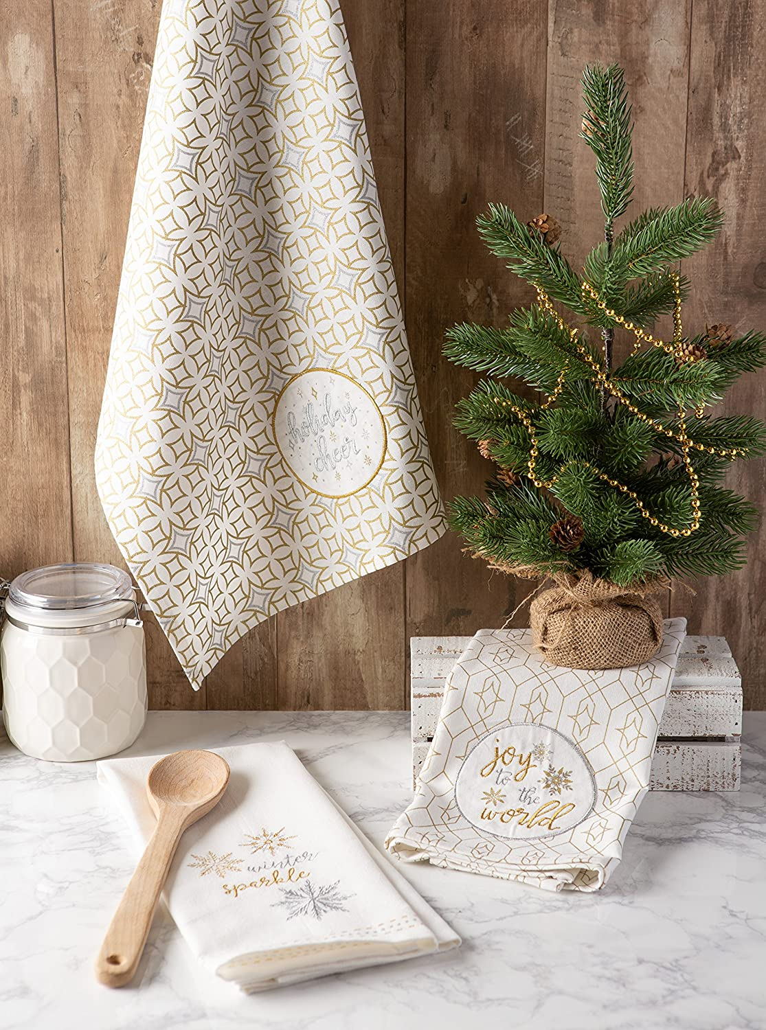 3 Pack Jacquard Dishtowel S//3 DII Cotton Christmas Holiday Dish Perfect Home and Kitchen Gifts Winter Jaquard Decorative Oversized Towels