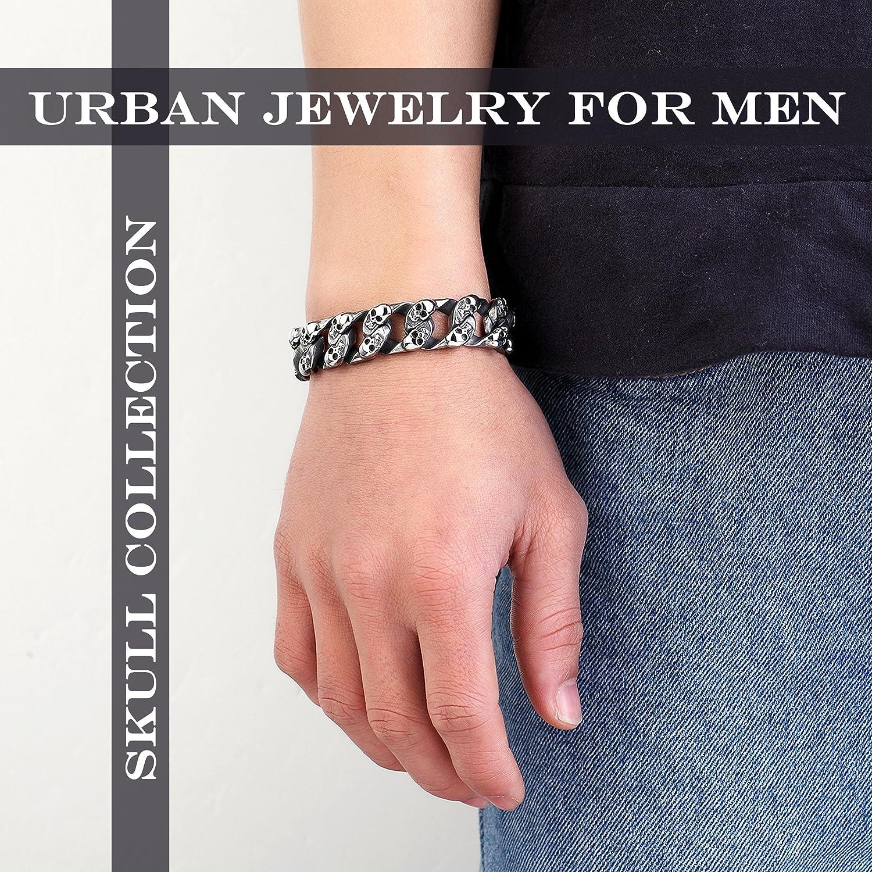 Urban Jewelry Bracelet en acier inoxydable argent/é Cha/îne /à maillons et mini t/êtes de mort 22/cm Pour homme