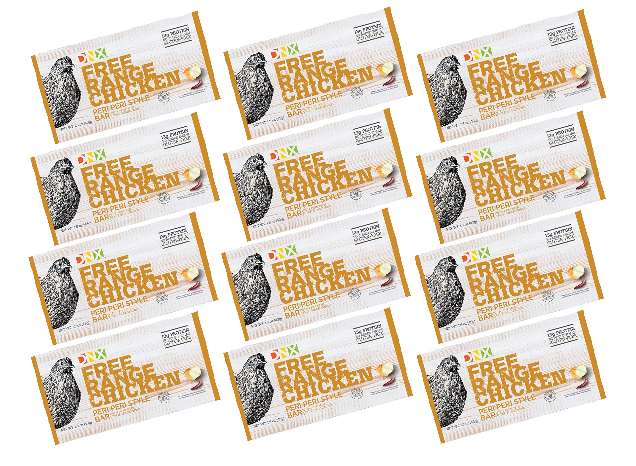 DNX Bar -Free Range Chicken Peri Peri Style Paleo Protein Bar-Organic Spices, Gluten Free, Whole30 Approved, Keto Protein Bar with a Truly Epic Taste (12 Bars)
