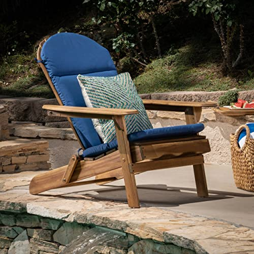Christopher Knight Home 304531 Reed Outdoor Adirondack Chair Cushion in Navy Blue