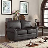 Madison Home Divano Roma Furniture Traditional Collection - Brown REAL Leather Upholstered Loveseat (Brown)
