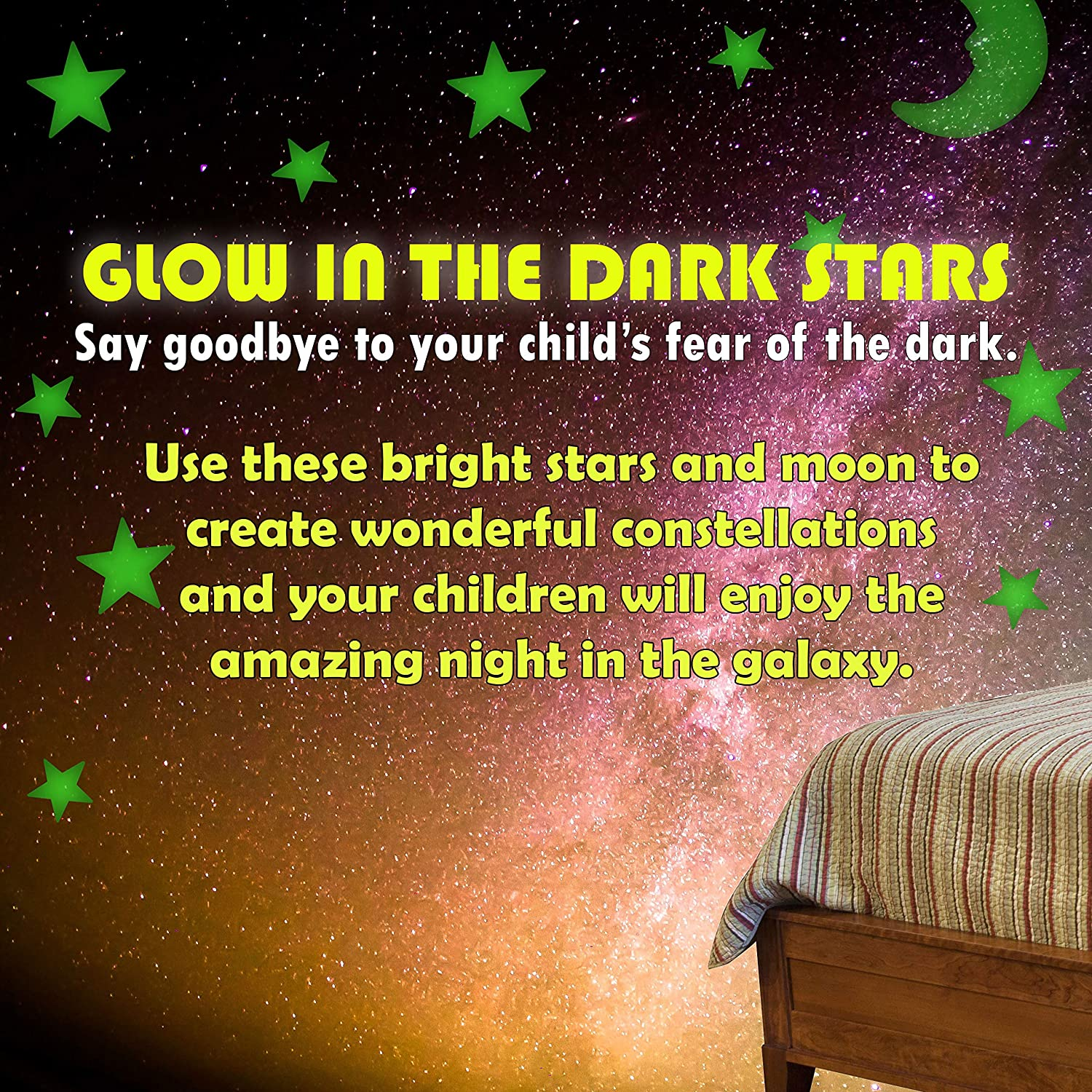 Ultra Glow in The Dark Stars Luminous Premium Quality Different Sizes Fluorescent Stars with Bonus Large Moon 201 Pcs Stickers Ceiling Decor Perfect Gift for Kids Bedroom Birthday Party