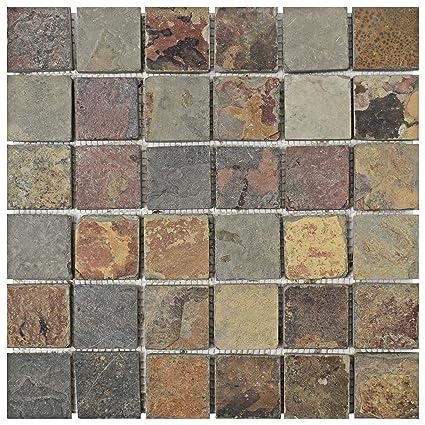 Somertile Scr2qss Cliff Quad Sunset Slate Natural Stone Mosaic Floor