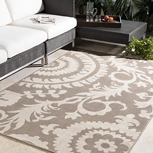 Alysia Beige and cream Indoor Outdoor Area Rug 6 x 9