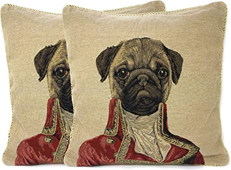 Pug Dog Throw Pillow Cover - Tache Napoleon Bownparte - 2 Pieces 18 X 18 Inch Square French Vintage Tapestry Woven Set