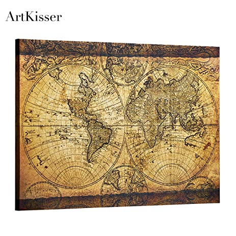 Amazon artkisser home and office worldmap wall decor old artkisser home and office worldmap wall decor old vintage large world map picture canvas for wall gumiabroncs Gallery