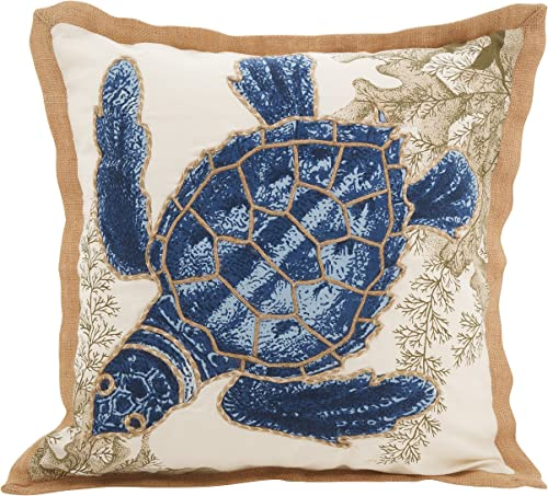 SARO LIFESTYLE 5440.NB20S Neptunian Collection Sea Turtle Cotton Throw Pillow, 20