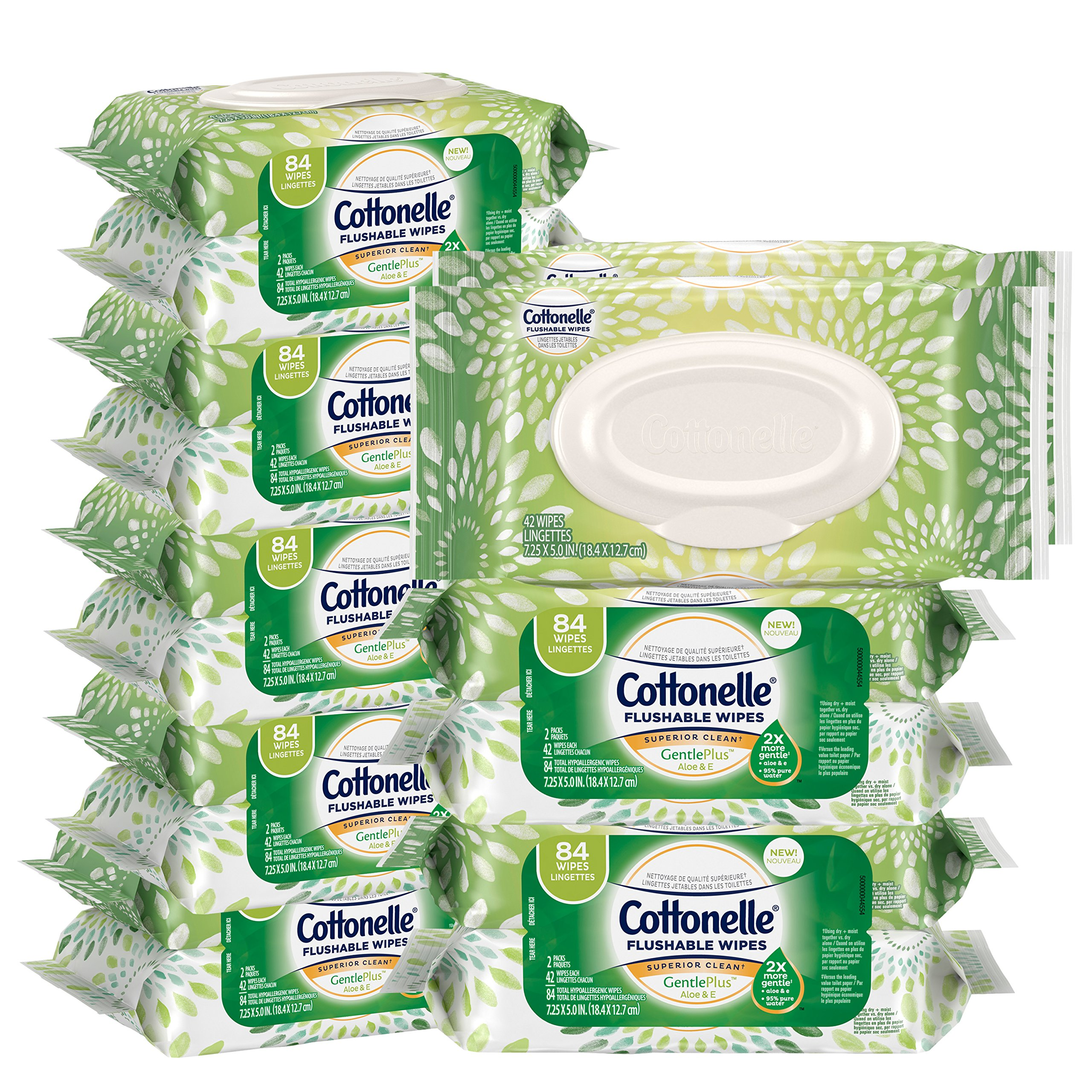 Cottonelle GentlePlus Flushable Wet Wipes with Aloe & Vitamin E, 84 Count, Pack of 8 by Cottonelle
