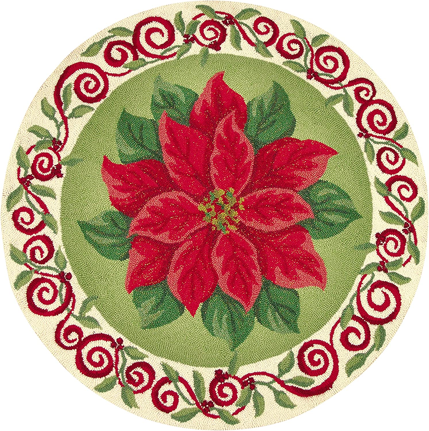 C&F Home 3 Feet Round Hooked Rug, Poinsettia