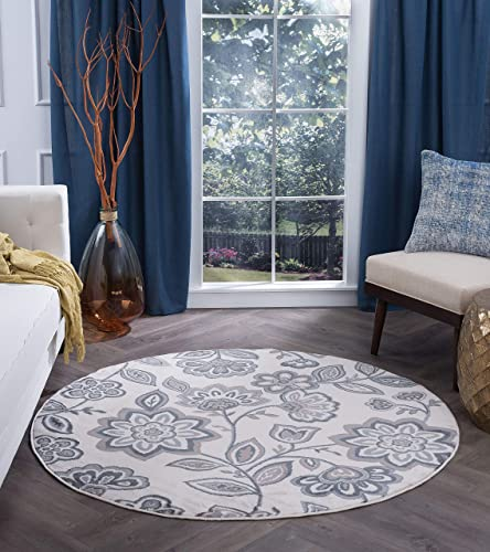Emmalyn Transitional Floral Cream Round Area Rug, 5 Round